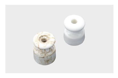 Old iso u2013 isolatore in ceramica o marmo per cavi intrecciati stile